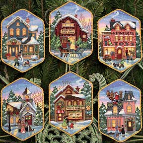 Christmas Village Ornaments (Gold)