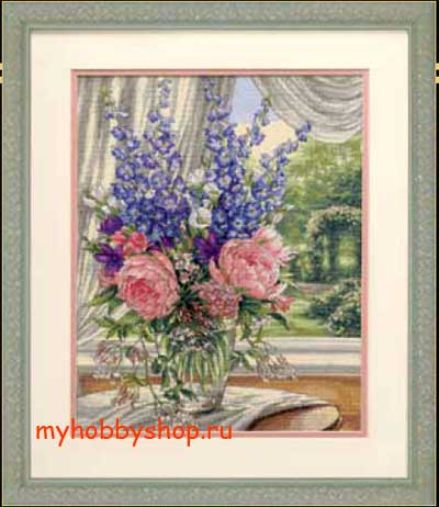 Peonies and Delphiniums Пионы и дельфиниумы