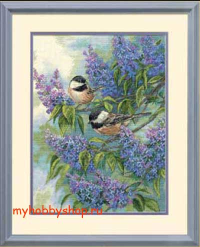 Chickadees and Lilacs Синицы и сирень